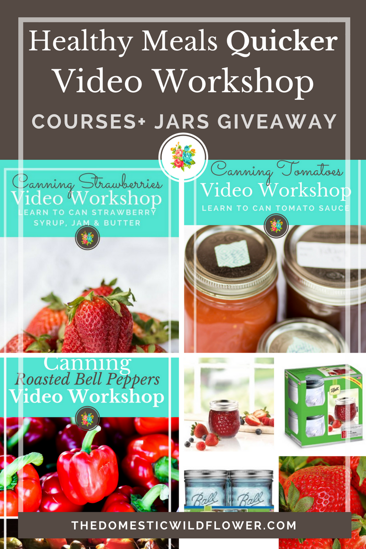 Healthy Meals Quicker Courses + Jars Giveaway! Canning is the answer to so many of your mom life problems. Canning saves time and money, makes it easy for you to choose healthy, nutritious foods for your family, and saves money. Enter to win this amazing giveaway and WIN 3 video workshops that teach a brand new beginner how to can strawberries, tomatoes, and roasted bell peppers (yum!). Share it out to get 5 additional entries for EVERY share! The winner gets 20 canning jars, fun blue lids, Canning ID Bands, and more! Enter now, Mama!
